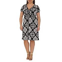 Samya - Black baroque printed midi dress