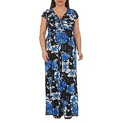 Samya - Blue wrap front printed maxi dress