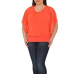 Samya - Peach sheer v-neck top