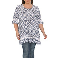 Samya - Blue frill lace tunic top