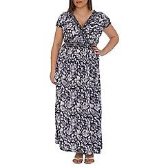 Samya - Navy floral print smock maxi dress