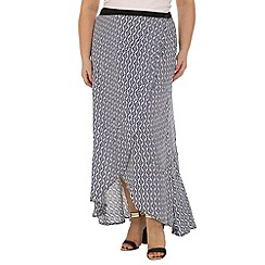 Samya - Blue geometric printed long skirt