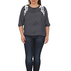 Samya - Navy dotted tops