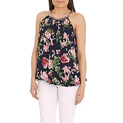 Jumpo London - Pink necklace chain flower print top