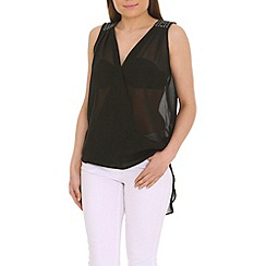Ayarisa - Black wrap front drape top