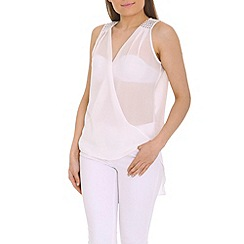 Ayarisa - White wrap front drape top