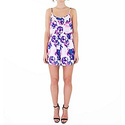 Wolf & Whistle - Purple floral strappy playsuit