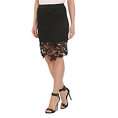 Pussycat London - Black crochet pencil skirt fringe
