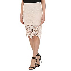 Pussycat London - Cream crochet pencil skirt fringe