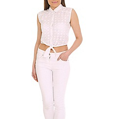 Madam Rage - White embroidery tie top