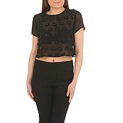 Madam Rage - Black flower crop top