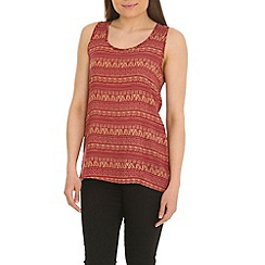 Tenki - Dark orange tribal print top