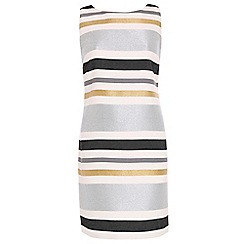 Belle By Badgley - Silver metallic stripe shift dress