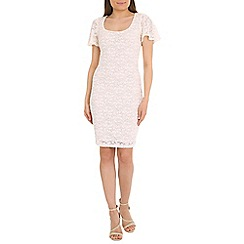Belle by Badgley Mischka - Cream flutter sleeve dress
