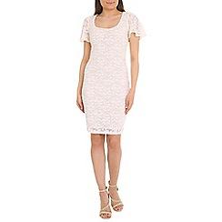 Belle by Badgley Mischka - Cream flutter sleeve dress