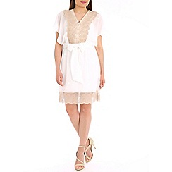Belle by Badgley Mischka - Cream lace wrap dress
