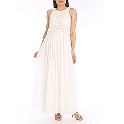 Belle by Badgley Mischka - Ivory crochet top dress