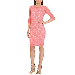 Belle by Badgley Mischka - Peach lace print dress