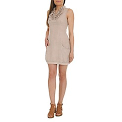 Voulez Vous - Brown linen ruffle neck dress