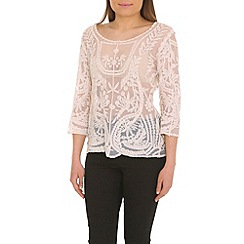 Voulez Vous - Ivory embroidered mesh top
