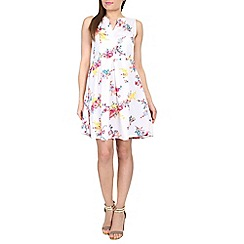 Cutie - White floral print sleeveless dress