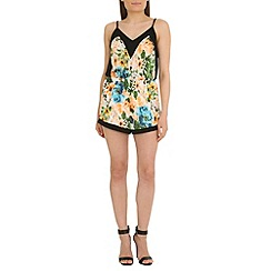 Madam Rage - Multicoloured neon floral playsuit