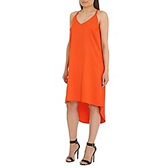 Madam Rage - Orange strappy dipped hem dress
