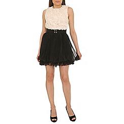 Jolie Moi - Black 3d ruffle lace skater dress