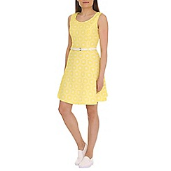Mela - Yellow abstract print prom dress