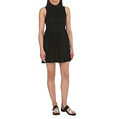 Mela - Black lace collared skater dress