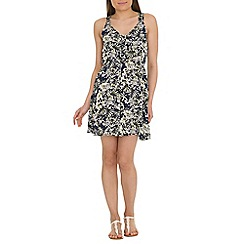 Mela - Blue tropical print dress