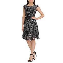 Amaya - Black lace dress with leaf print