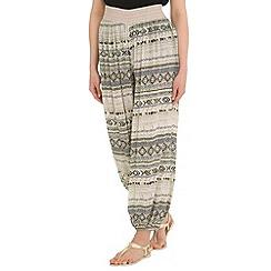 Amaya - Beige aztec print harem trousers