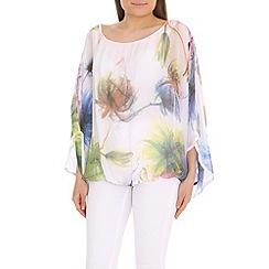 Amaya - White floral printed kimono