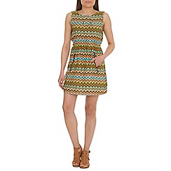 Mela - Multi-coloured gather waist dress