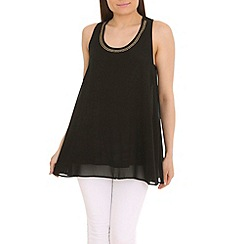 Jumpo London - Black chiffon top with bow back