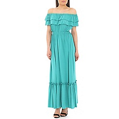 Pussycat London - Green off shoulder plain maxi