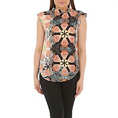 Pussycat London - Black geometric print top