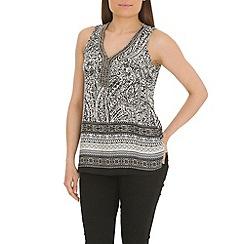 Voulez Vous - Black embellished neck paisley vest top