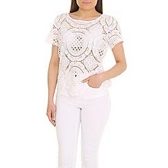 Voulez Vous - White geometric crochet top