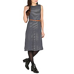 Poppy Lux - Navy sadie stripe dress with belt