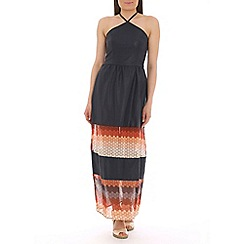 AS by Anna Smith - Navy tapestry effect pu maxi dress