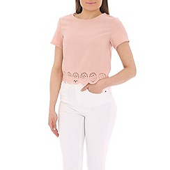 AS by Anna Smith - Peach scallop hem cutout top
