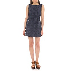 Mela - Navy floral and leaf zip dress