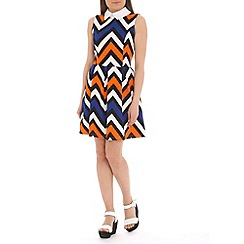 Mela - Multicoloured zig zag collar dress