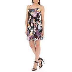 Mela - Black floral strap dress
