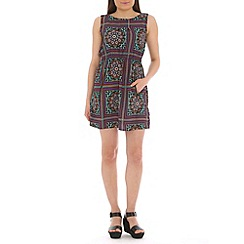 Mela - Green printed zip pocket dress