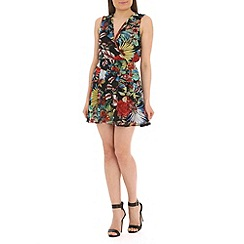 Mela - Black flower print lace back dress
