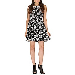 Mela - Black flower print collar dress