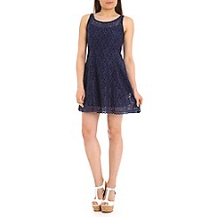 Voulez Vous - Navy lace sleeveless swing dress
